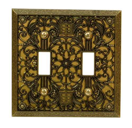 Amerelle 65TTAB Filigree 2 Toggle Wallplate, Antique Brass by Amerelle -