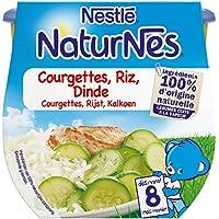 Nestlé Bébé Naturnes Courgettes Riz Dinde ds 8 mois 2 x 200 g- Pack de 8