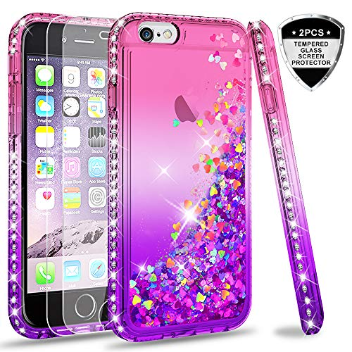 LeYi Hülle iPhone 6 / iPhone 6S Glitzer Handyhülle mit Panzerglas Schutzfolie(2 Stück),Cover Diamond Bumper Schutzhülle für Case iPhone 6 / iPhone 6S Handy Hüllen ZX Gradient Pink Purple