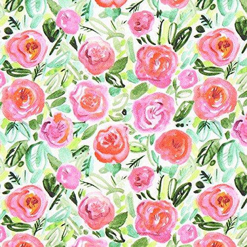 Unbekannt Dekostoff Halbpanama Rosen – hot pink — Meterware ab 0,5 m — Oeko-Tex Standard 100 — zum Nähen von Kinderartikeln, Kissen und Tagesdecken und Tischdekorationen