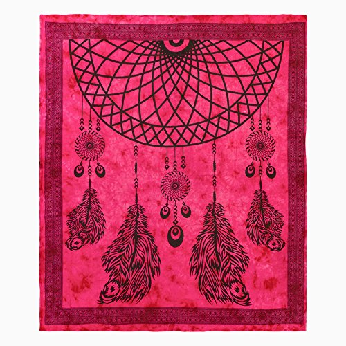 Pareo cuadrado gigante 210x240 cm 100% algodón atrapasueños rosa