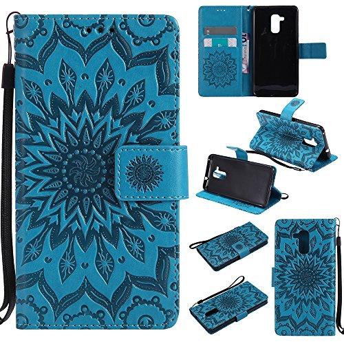 Lomogo Huawei GT3 Hülle Leder Blumenprägung, Schutzhülle Brieftasche mit Kartenfach Klappbar Magnetverschluss Stoßfest Kratzfest Handyhülle Case für Huawei GT3 / Honor 5C - KATU22606 Blau