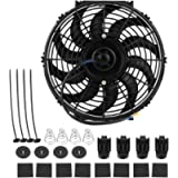 EVGATSAUTO 12 Inch Engine Cooling Fan, 12V/80W Universal Car Slim Push Pull Electric Cooling Fan with Mounting Kit Black