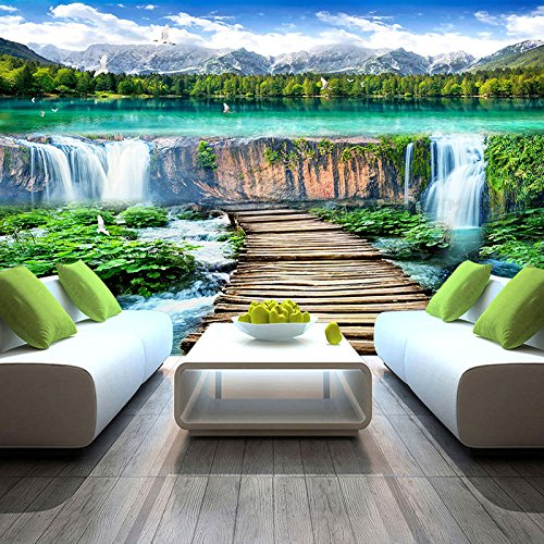 Preisvergleich Produktbild LWCX Im Chinesischen Stil Wasserfälle Landschaft Holz Brücke Foto Wandbild Tapete Wohnzimmer Fernseher Sofa Hintergrund Wandverkleidung Home Decor Wandbild 396X280CM