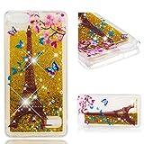 Cozy Hut Huawei Honor 4C / G Play Mini Flüssig Glitzer Hülle, Cute Lovely Cartoon Muster 3D Flüssigkeit Schutzhülle Transparent Handytasche Glänzend Glitzer Rosa Blaue Herzen Fließen Flüssig Handy