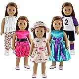 Miunana 5 PCS Abiti Vestiti Alla Moda + 2 PCS Scarpe + Cappello + Cintura Per 16 - 18 Pollici (40 CM - 46CM) Bambolotti Bambola Americana American Girl Dolls