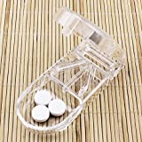BODHI2000 Travel Pill box Pill cutter splitter medicine tablet Holder, Transparent, taglia unica immagine