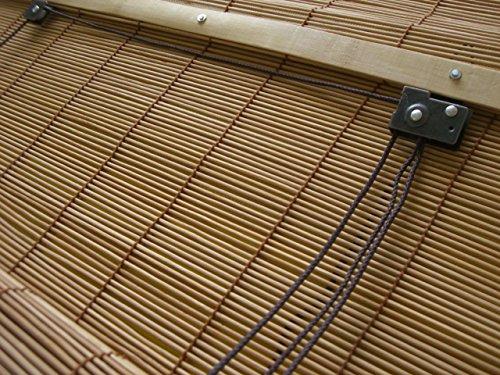 Bambusrollo Bambus Raffrollo Natur Breite 60 – 160 cm Länge 160 cm Seitenzug Fenster Tür Rollos Holzrollo