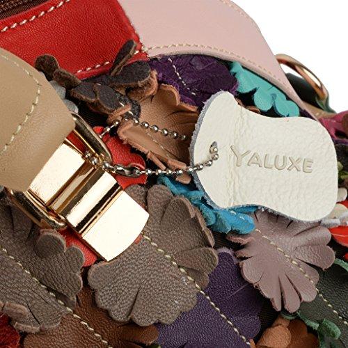 Yaluxe Donna colorato Fiore Stripe pelle Borse a spalla Borse a spalla grande Borse a tracolla Borsetta colorato9
