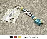 NAMENSANHÄNGER - Anhänger mit Namen  Baby Kinder Schlüsselanhänger für Wickeltasche, Kindergartentasche, Schultasche oder Rucksack mit Schlüsselring  Jungen Motiv Auto in türkis