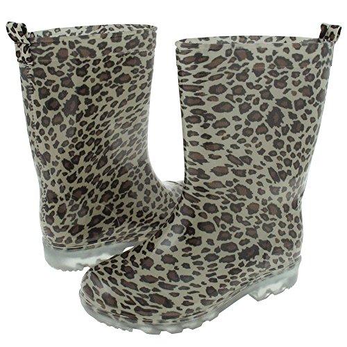Capelli New York Girls Shiny Baby Leopard Printed Jelly Rain Boot