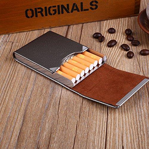 aprettysunny pu cuoio sigarette portabiglietti classica scatola di metallo fumare tabacco per sigarette