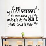 "Docliick® Frase Vinilo para cocina o restaurante""LA MEJOR RED SOCIAL"" Vinilos decorativos Docliick DC-18042 (Vinilo de corte,"