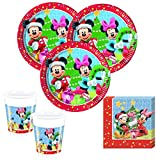 Kids Party World 52 Teile Set Disney Micky und Minnie Weihnachten für 16 Personen