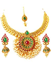 Triumphin Multicolor 14K Green Gold Plating Jewelry Sets For Wedding Jewelries For Women Necklace For Girls/women