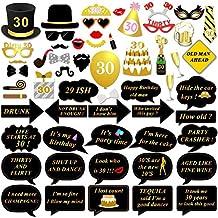 57 PCS 30th cumpleaños Photo Booth Atrezzo, konsait DIY Photo Booth Props kit Cabina de Fotos Accesorios con Stick, 30th cumpleaños decoraciones suministros, fácil montaje