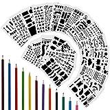 Anpro Zeichenschablonen, 24 Kunststoff Zeichnung Tagebuch Schablone + 12 farbige Buntstifte, Multifunktionale Zeichnung Grafiken Schablonen für Scrapbooking, Karten und DIY