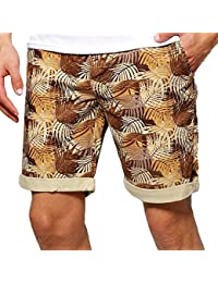 Men's Bellfield Hawaiian Camouflage Print Summer Up Turn Chino Shorts Size