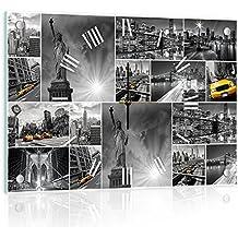 Delester Design cg10461g3Collage New York Reloj de pared de cristal (déco-vitre) cristal, multicolor 60x 40x 4cm)