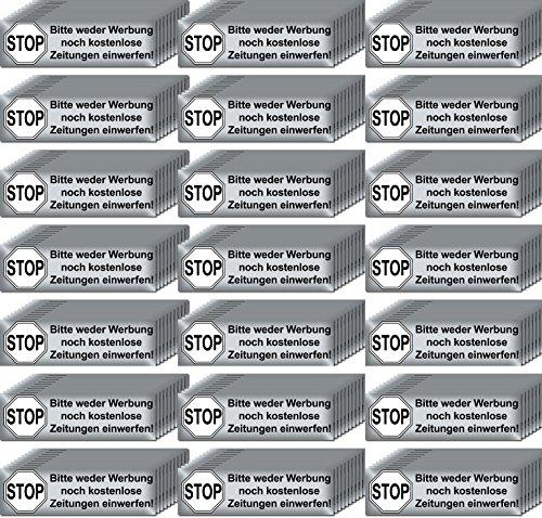 Preisvergleich Produktbild 200 Stück Stop Bitte keine Werbung und kostenlose Zeitungen einwerfen Aufkleber Sticker Briefkasten