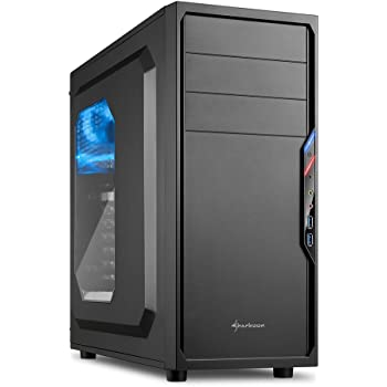 Sharkoon VS4-W Midi-Tower Black computer case - Computer Cases (Midi-Tower, PC, ATX,Micro-ATX,Mini-ITX, Black, Blue, Case fans)