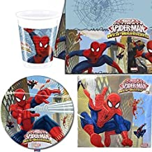 Spiderman Tela Warriors vajilla para fiesta para 8