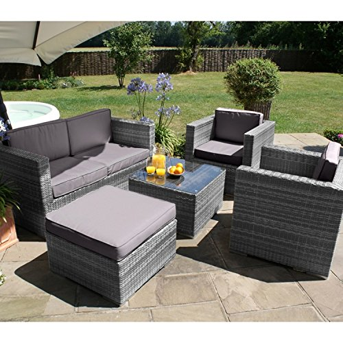 San Diego Dallas Baby Rattan Garden Furniture Grey 5 Piece Sofa Set Garden Rattan Furniture