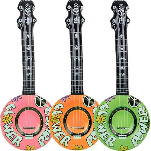 1x aufblasbares * BANJO * - 100cm lang - als Deko für Mottoparty, Karneval oder Geburtstag // Kindergeburtstag aufblasbar Gitarre (Banjo Spielzeug)