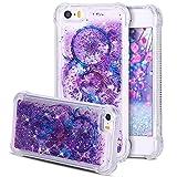 Coque iPhone 5S, Étui iPhone SE, SpiritSun 3D Glitter Liquide Coque Transparente...