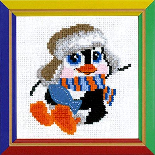 Riolis HB158 Kreuzstich-Set Pinguin, Baumwolle, Mehrfarbig, 15 x 15 x 0.1 cm