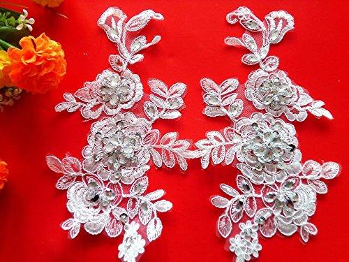 Nueva hecho a mano cristal lentejuelas parches 23* 13cm de coser de brillantes marfil encaje Floral para vestido DIY accesorios