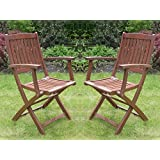 Set of 2 Canterbury Folding Garden Arm Chairs Hardwood Garden Patio Furniture Seating