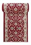 WE LOVE RUGS CARPETO Läufer Teppich Flur in Rot - Orientalisch Klassischer Muster - Brücke Läuferteppich nach Maß - 100 cm Breit - AYLA Kollektion von Carpeto - 100 x 350 cm
