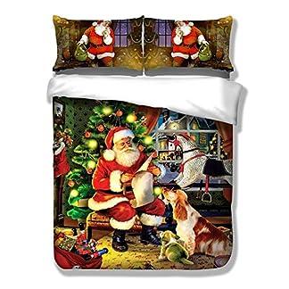 CHAOSE Juego de Sábanas Serie de Navidad Funda Nórdica de Algodón y poliéster 3 Piezas (1 Funda Nórdica + 2 Funda de Almohada 48x74cm) (Celebra Navidad, (150x200cm+2/74x48cm) – Cama de 90)