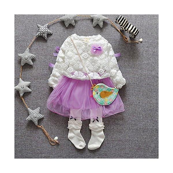 Tefamore Vestidos Bebe Niña, Recién Bebé Niñas Tutú Princesa Vestido Pentagram Bautizo Bebé Niñas Vestidos de Manga… 2