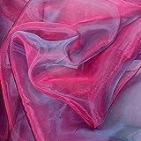 TOLKO® Meterware   Organza Deko-Stoff Transparent mit Farbwechsel zum Nähen - Dezent Glänzend und Hauch Zart (Pink-Blau)