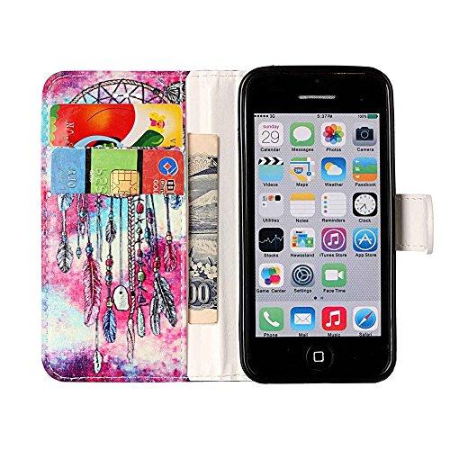 """MOONCASE iPhone 5c Hülle, [Colorful Pattern] Stoßfest Ganzkörper Schutzhülle mit Ständer Leder Handytasche Case für iPhone 5c 4.0"""" Rose Gold Chimes"""