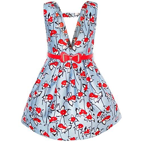 KJ91 Sunny Fashion Vestido para niña rojo Cinturón Flor Liga Falda Colegio Uniforme 5 años