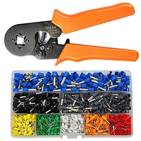 IZOKEE Aderendhülsenzange Crimpzange mit 800 Stück Aderendhülsen Sortiment Set, Kabelschuhzange Crimpwerkzeuge mit Ratschenfunktion 0.25-6.0mm² AWG23-7 für isolierte unisolierte Drahtseil Steckverbinder kabelschuhe (Orange Aderendhülsenzange mit Aderendhülsen)