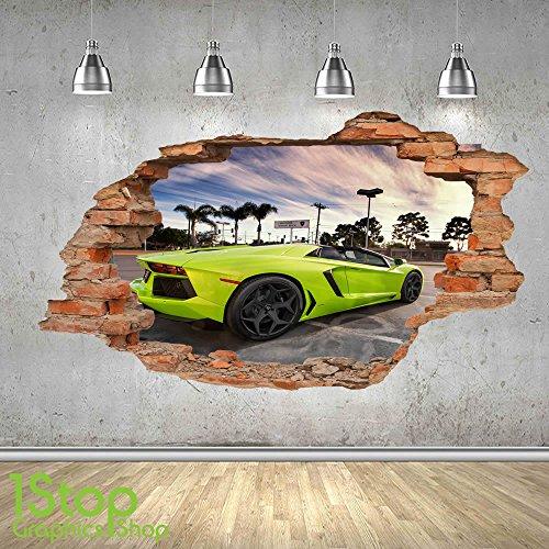 lamborghini-wall-sticker-3d-look-boys-kids-bedroom-supercar-wall-decal-z494-size-large