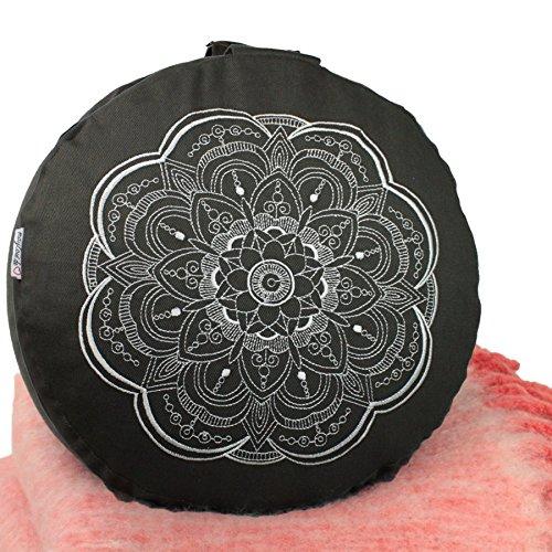 Meditationskissen Yogakissen 'Celine Madeleine' mit Stickerei Bezug waschbar, gefülltes Innenkissen mit Bio-Dinkelspelzen 33 x 15 cm geeignet für Anfänger und Geübte