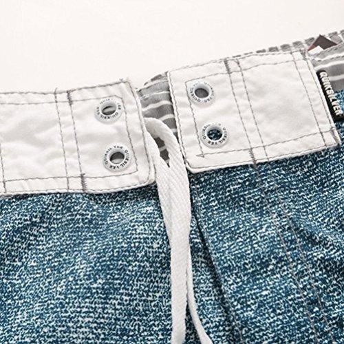 Baymate Hommes Shorts De Plage Épissure Rayure Boardshorts Maillot De Bain Denim