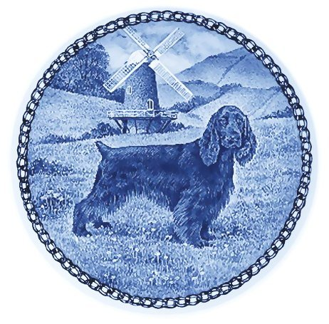 Field Spaniel / Lekven Design Dog Plate 19.5 cm /7.61 inches Made in Denmark NEW with certificate of origin PLATE #7403