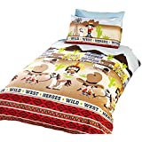 Wild West - Juego de fundas nórdico/edredón cama individual para niños. (Cama de 90/Multicolor)
