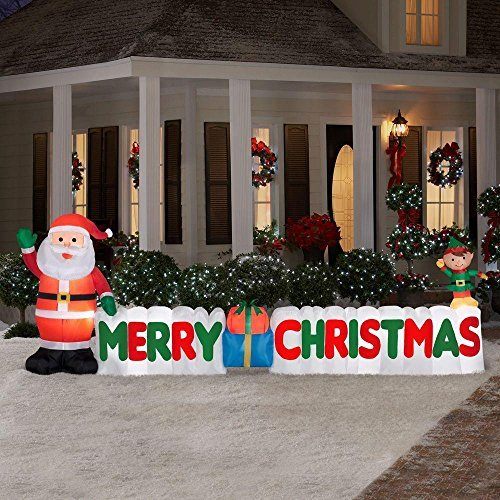 3.7m Long Outdoor Inflatable Merry Christmas Sign w/ Santa Clause & Elf Great Lawn or Yard Holiday Decor w/ Light Perfect Accent to Other Seasonal Ornaments