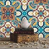Prevently Mediterranes Fliese Aufkleber Vintage Blume Wandaufkleber Wandtattoo Wanddeko für Wohnung, Raumdekoration
