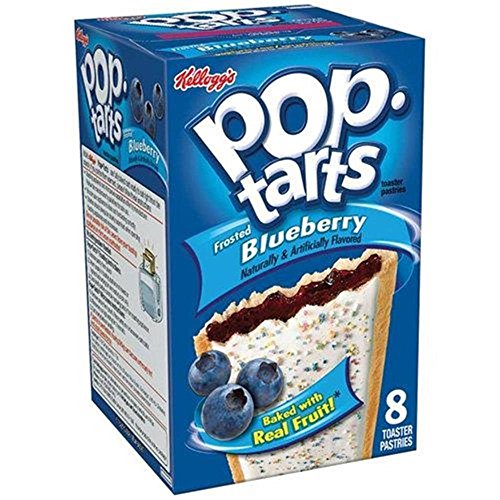 Kelloggs Pop-Tarts Blueberry Cherry Raspberry Chocolat Smore Cookies and Creme Cinamon Rolls Chip Confetti Cupcake Brown Sugar Fugde Sunday Grape Strawberry (Blueberry Frosted)