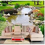 Wandbild 3D Landschaft Blumen und Pflanzen Fototapete Für Wohnzimmer Sofa TV Roll