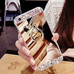 COTDINFOR Funda iPhone 7 Plus Funda de Espejo Lindo para niñas Funda de maquillaje Espejo para iPhone 8 Plus Funda de lujo elegante Funda clara para iPhone 7 Plus Funda de cristal brillante Bling Diamond Glitter Espejo TPU Funda protectora con soporte de anillo para iPhone 7 Plus / 8 Plus Bear Ring Mirror Gold.