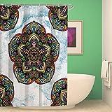BKPH Indische Mandala Stil Schlafzimmer Duschvorhang Liner Polyester Stoff Duschvorhang Set mit 12 Haken, F, 175 * 180cm